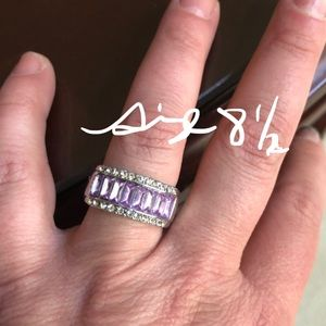 White gold filled ring with lavender CZ
